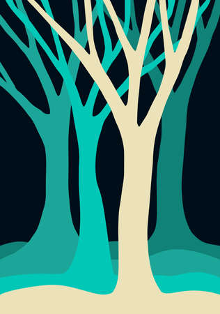 Group of empty tree silhouettes with branches in blue colors, nature landscape illustration. Illustration