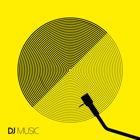 モダンなビニール レコード デザインと幾何学的なライン アート スタイルの DJ 音楽のコンセプト。EPS10 ベクトル。
