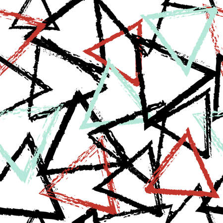 Seamless pattern with abstract triangle shapes background in grunge paint style