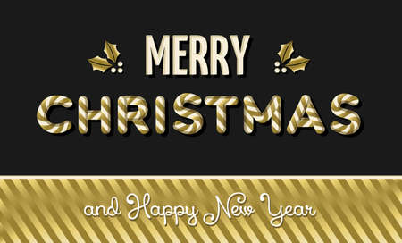 new year decoration: Merry christmas and happy new year gold candy typography design with holly decoration. vector.