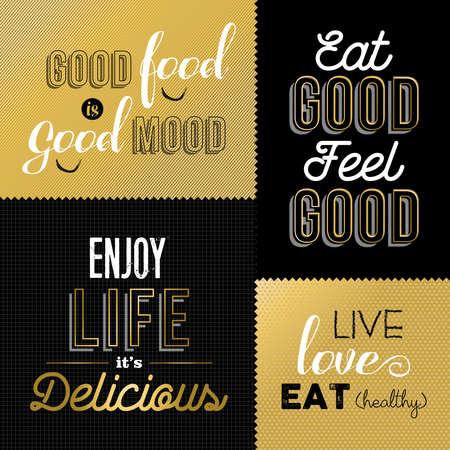 Set of vintage food quotes in gold color design ideal for restaurant or gourmet business. vector. Ilustração