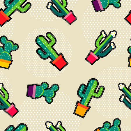 garden plant: Seamless pattern with stitching patch garden cactus plant icons, green nature cartoon background vector.