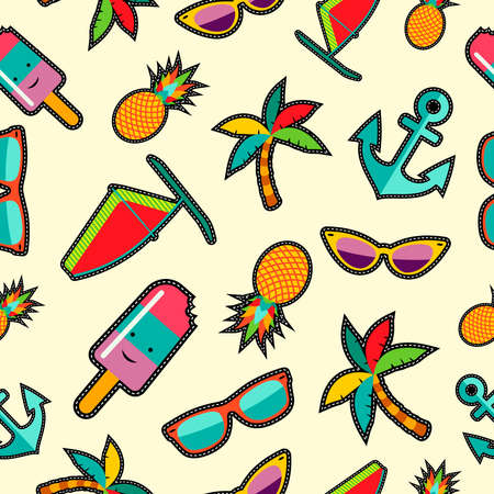 Summer background with colorful beach elements in pop art cartoon style vector.
