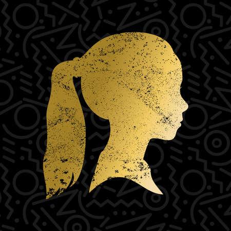 Perfil de la muchacha silueta de la cara con el pelo cola de caballo en el color de la textura del grunge del oro, ilustración cabeza de niño. vector.