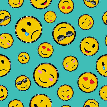 Seamless pattern with vibrant color emoji smiley face icons, trendy texting symbols in pop art style vector.