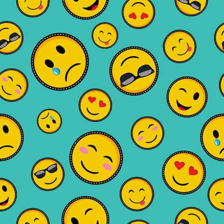 Patrón sin fisuras con iconos de cara sonriente de emoji de color vibrante, símbolos de mensajes de texto de moda en vector de estilo pop art.