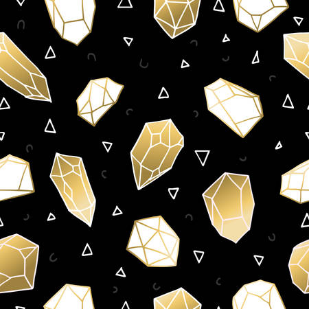 quartz crystal: Trendy seamless pattern of gold color crystal mineral stones, simple hand drawn diamond rocks background vector.
