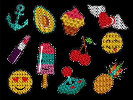 Set of cute fashion patch icons with sequin texture in pop art cartoon style. vector. Illustration