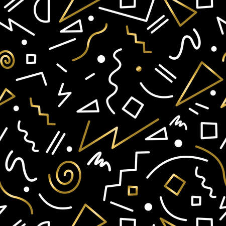 retro color: Retro 80s seamless pattern in memphis fashion style, gold color vintage background. Illustration