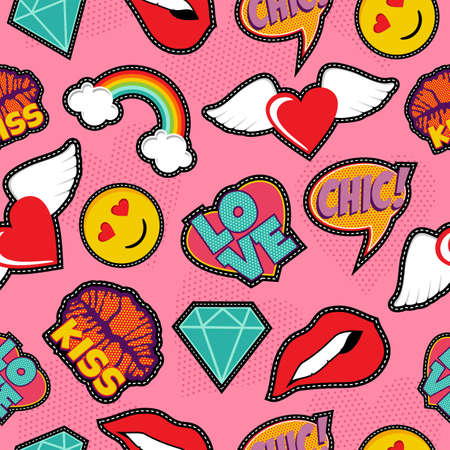 Seamless pattern with pink girl icons in pop art style, emoji, love, and rainbow stitch patches.
