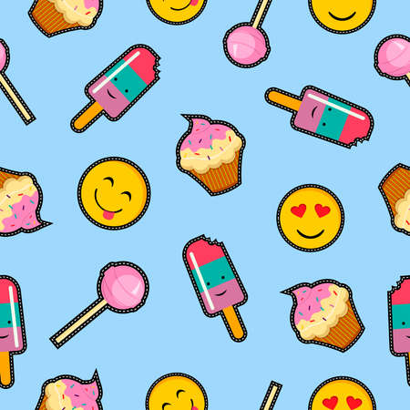 Cute seamless pattern with cartoon food decoration, emoji, dessert and candy illustrations.