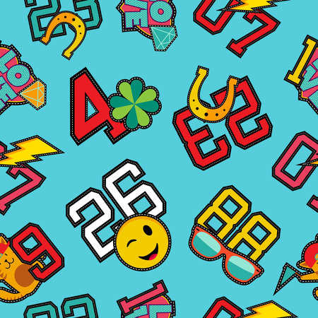 vibrant colors fun: Fun seamless pattern with retro college numbers and pop art stitch patch icons in vibrant colors.