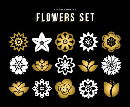 lily flowers: Gold color set of flowers icons in modern flat art illustration style. Floral nature icons lotus, lily and rose. Illustration