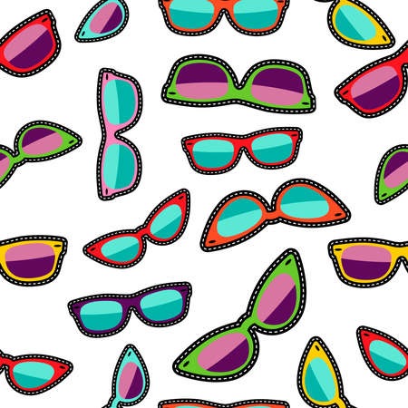 eye glass: Hipster sunglasses cartoon designs, seamless pattern with colorful eye glass elements.