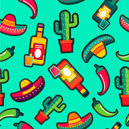 shots: Mexican food seamless pattern with traditional culture icons in stitching patches style, tequila drink, sombrero and hot pepper designs. Illustration