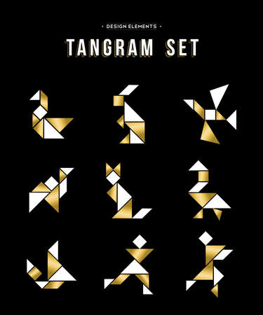 color tangram: Gold color set of tangram game icons made with geometry shapes, includes animals and people. Illustration