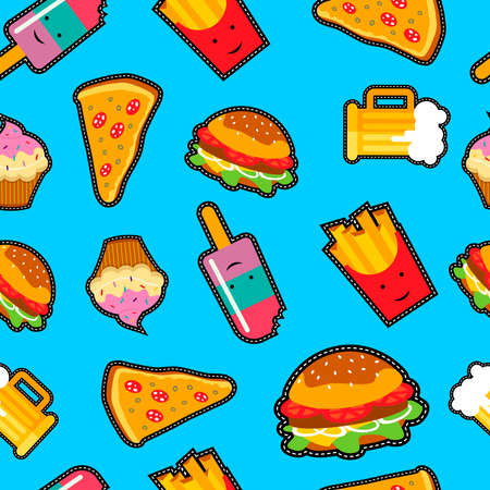 patches: Seamless pattern with vibrant color cartoon fast food patches. Includes pizza, beer, burger and more. Illustration