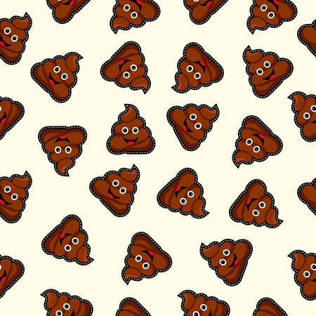 Seamless pattern with happy poop icon, funny illustration background.