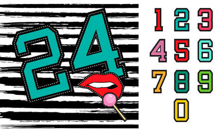 Set of retro university sports team style numbers, ideal for clothes embroidery patch or stickers.