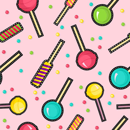 Cute seamless pattern with lollipop candy stitch patch icons, dessert and sugar pink illustration background.