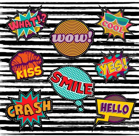 Reeks retro popdesign met cartoontekst en spraakbellen, ideaal voor borduren of stickers.