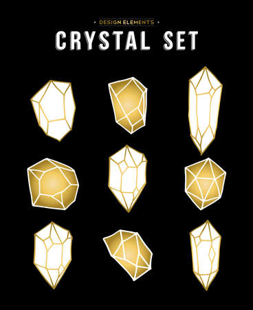 quartz crystal: Set of gold color crystal mineral stone elements, simple hand drawn diamond rock icons collection.  vector.