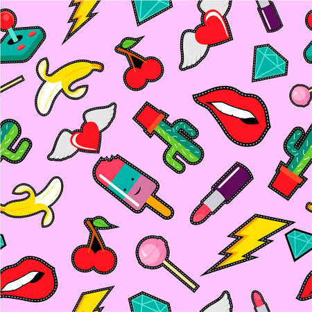 Cute seamless pattern with retro embroidery patch designs in colorful pop art style.
