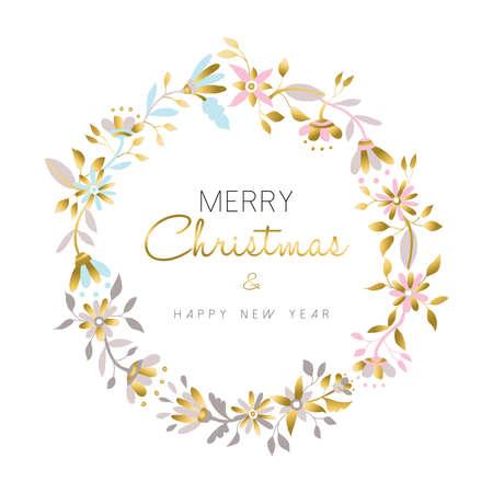 Feliz Navidad y feliz año nuevo corona de flores de oro, decoración de navidad en colores pastel sobre fondo blanco. ilustración de diseño floral para la temporada de navidad. vector.
