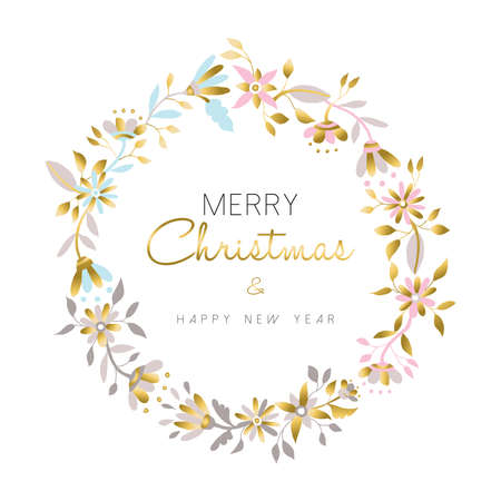 Merry Christmas and happy new year gold flower wreath, christmas decoration in pastel colors over white background. Floral illustration design for christmas season. vector. Vectores