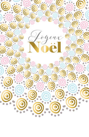 Merry Christmas Happy New Year design in french language. Gold boho art for holiday greeting card, poster, or invitation. vector.