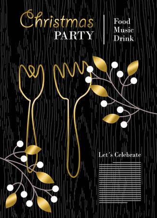 Christmas party template with gold decoration, food and drink invitation or poster design for holiday event. vector. Vector Illustration