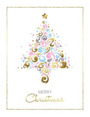 メリー クリスマス ゴールド イラスト カード デザイン、白い背景の上パステル カラーの抽象的な装飾図形製クリスマス ツリー。ベクトル。