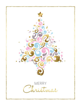 Merry christmas gold illustration card design, christmas tree made of abstract ornament shapes in pastel colors over white background. vector.