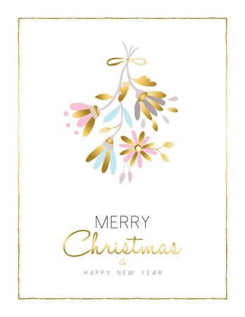 Prettige Kerstdagen en Gelukkig Nieuwjaar gouden bloem decoratie als kerst maretak, bloemen ontwerp voor het seizoen kaart. vector.