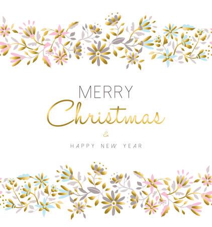 luxo: Feliz Natal e ano Fundo floral sem emenda nova feliz na cor pastel ouro com ilustra
