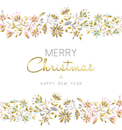 Merry christmas and happy new year floral seamless pattern background in gold pastel color with flower illustration. vector.