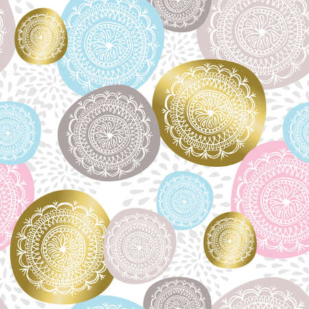 flower  hand: Christmas ornament seamless pattern in gold color with hand drawn flower mandala designs. vector.