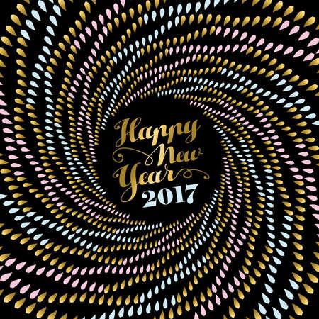 luxo: Feliz Ano Novo 2017, projeto do feriado na cor do ouro com arte abstrata mandala sobre o fundo preto. vetor. Ilustração