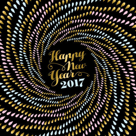 Happy New Year 2017, holiday design in gold color with abstract mandala art over black background. vector.