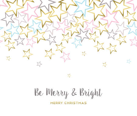 Merry Christmas illustration design, gold star background with happy quote for holiday season. vector.