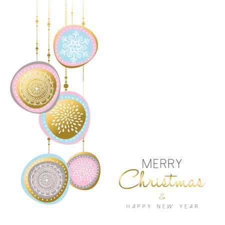 メリー クリスマスと新年あけましておめでとうございます金図設計ソフト パステル カラーの休日飾りの装飾。ベクトル。