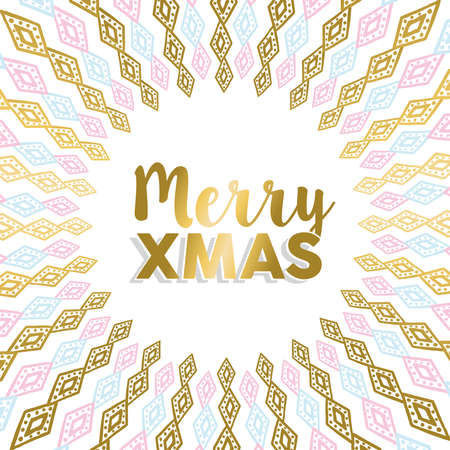 lux: Merry Christmas design in gold and pastel colors with tribal art mandala for holiday greeting card, poster, or invitation. vector.
