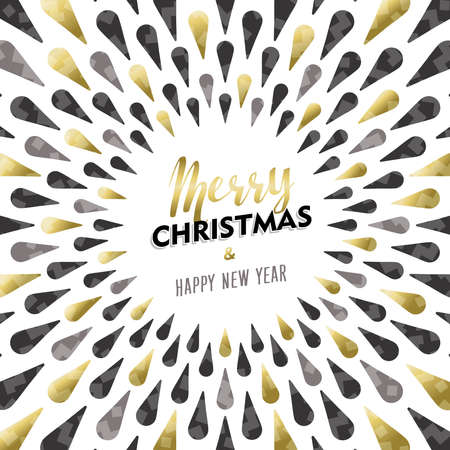 xmas card: Merry Christmas and happy new year modern abstract style design in gold color for holiday season. vector.