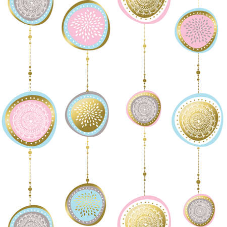 Christmas seamless pattern with hand drawn boho ornament illustrations in gold color, holiday decoration over white background. vector. Ilustracja