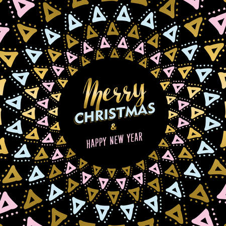 new year decoration: Merry Christmas Happy New Year gold design with mandala tribal art decoration. vector.