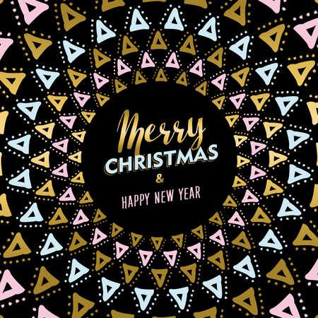 luxo: projeto do ouro Feliz Natal Feliz Ano Novo com decoração mandala arte tribal. vetor. Ilustração