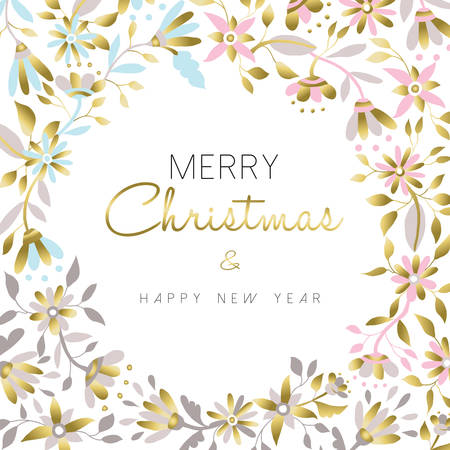 Merry Christmas and happy new year gold flower christmas decoration in pastel colors over white background. Floral illustration design for xmas season. vector. Illustration