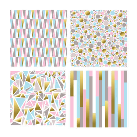 Set of modern backgrounds in gold pastel colors, seamless patterns with abstract geometric shapes. vector. Vektoros illusztráció