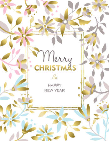 lux: Merry Christmas and happy new year gold flower design. Floral decoration for invitation, poster or greeting card. Xmas season nature illustration. vector. Illustration
