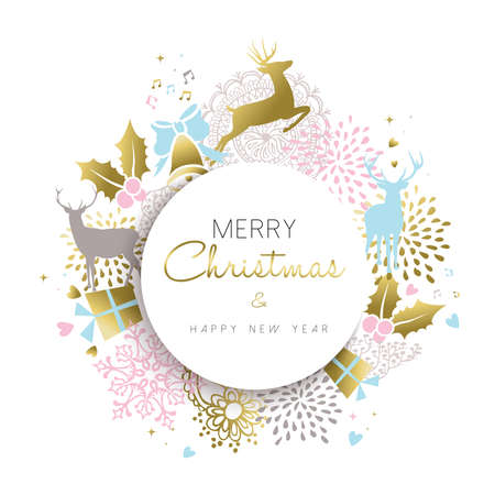 Merry Christmas happy new year illustration in gold color with deer, holiday luxury decoration and hand drawn elements. vector.